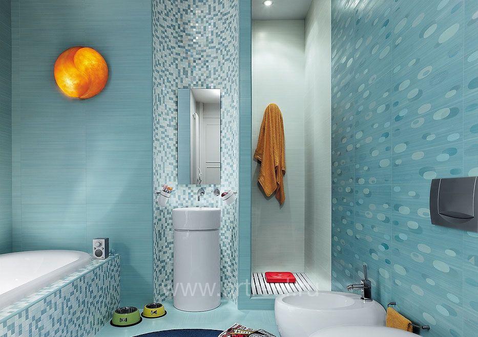 Дизайн ванны из 2 видов плитки