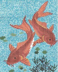 Rose mosaic Carpet Series Gold Fish