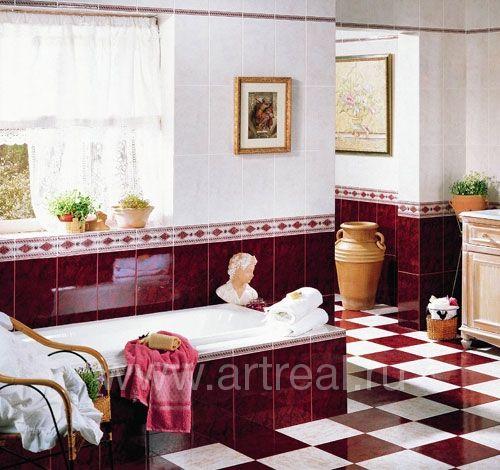 Бордовая плитка, купить бордовую плитку для ванной