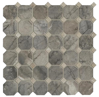 Cisa Royal Marble мозаика Mosaico Ottagona Grigio lapp-rett 33*33