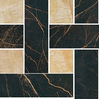 Gardenia (Versace) Marble мозаика Mosaico Chesterfield Nero-Oro 240450 29.1*29.1